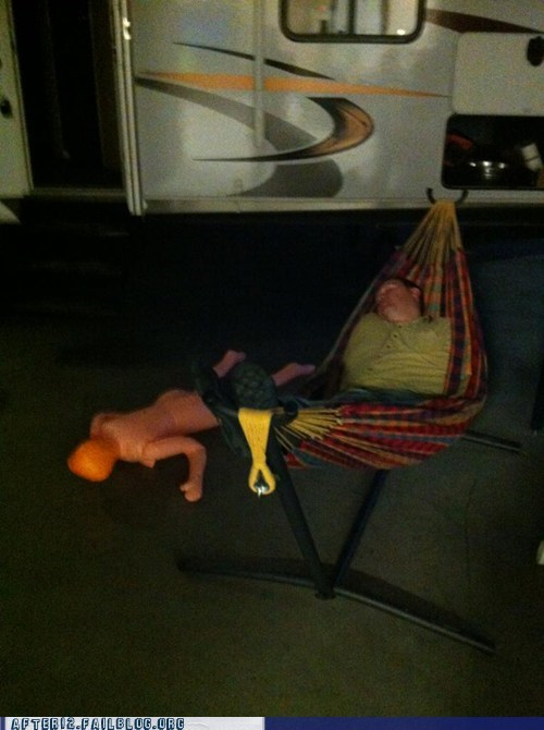 blackout,blow-up doll,hammock,passed out