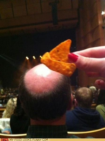 bald,chip,dorito,hat,head,theater,tortilla chip
