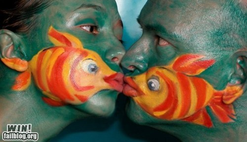clever cute design face paint fish - 6241316352