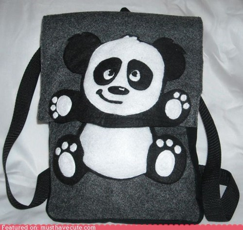 applique backpack felt panda - 6241476352