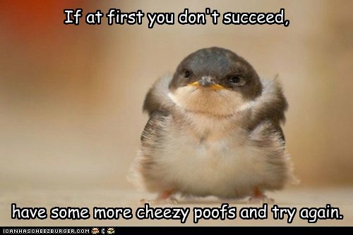 If at first you don't succeed, have some more cheezy poofs and try again.