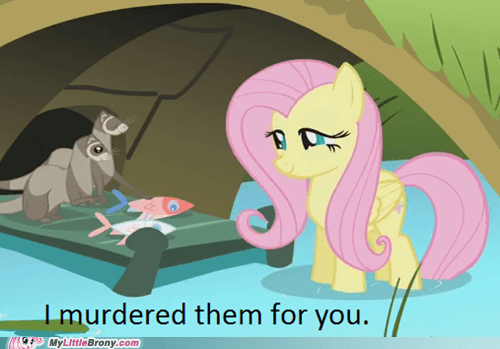 animals,feast,fluttershy,food,murder,TV