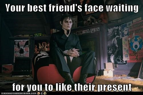 Awkward,barnabas collins,dark shadows,face,friend,Johnny Depp,present