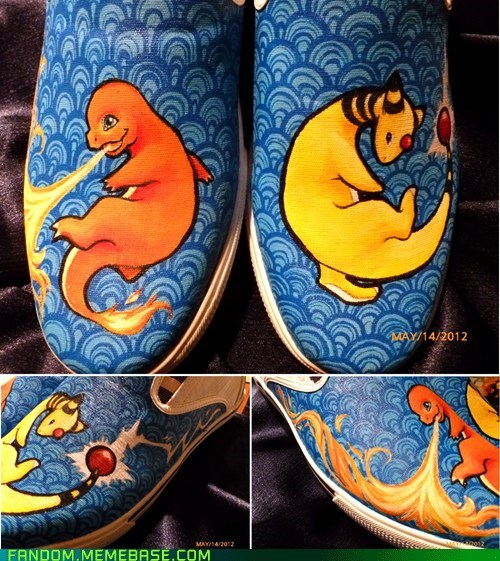 Ampharos charmander Fan Art Pokémon shoes - 6242579200
