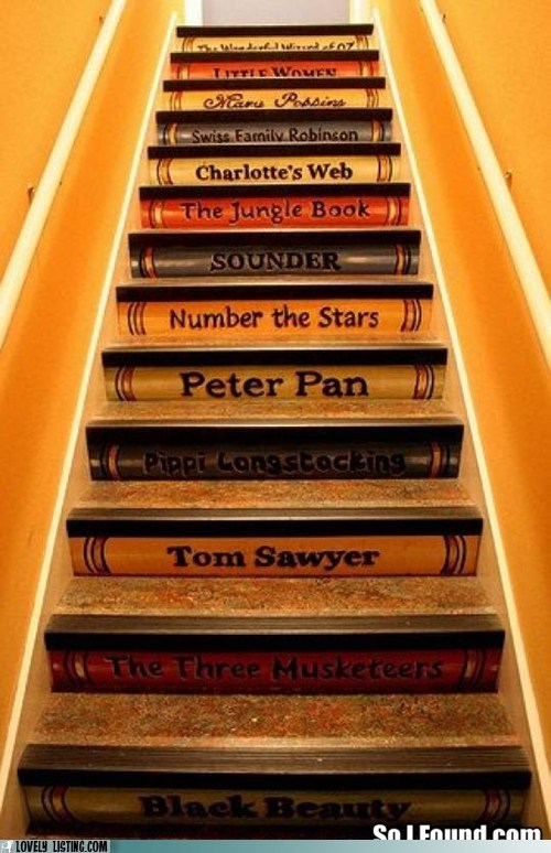 books shelves spines stairs titles - 6242680576
