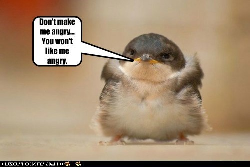 Don't make me angry... You won't like me angry.