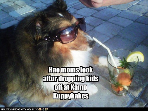 Hao moms look aftur dropping kids off at Kamp Kuppykakes