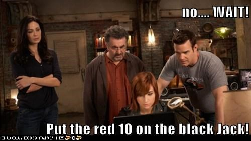 no.... WAIT! Put the red 10 on the black Jack!