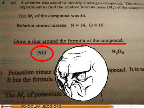 Chemistry,no,not the boss of me,test humor