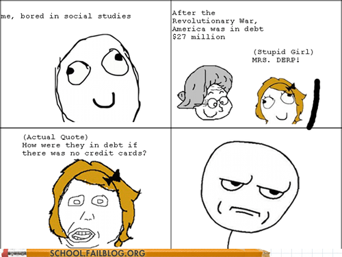 credit cards,debt,rage comic,social studies,stupid girl
