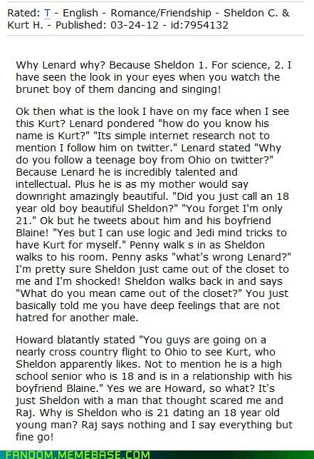 bad fanfic friday,big bang theory,crossover,glee,It Came From the,It Came From the Interwebz