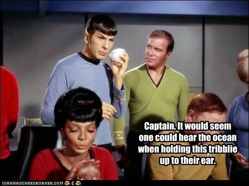 Captain Kirk ear hear the ocean holding Leonard Nimoy Nichelle Nichols ocean Shatnerday Spock Star Trek tribble uhura William Shatner - 6248139520