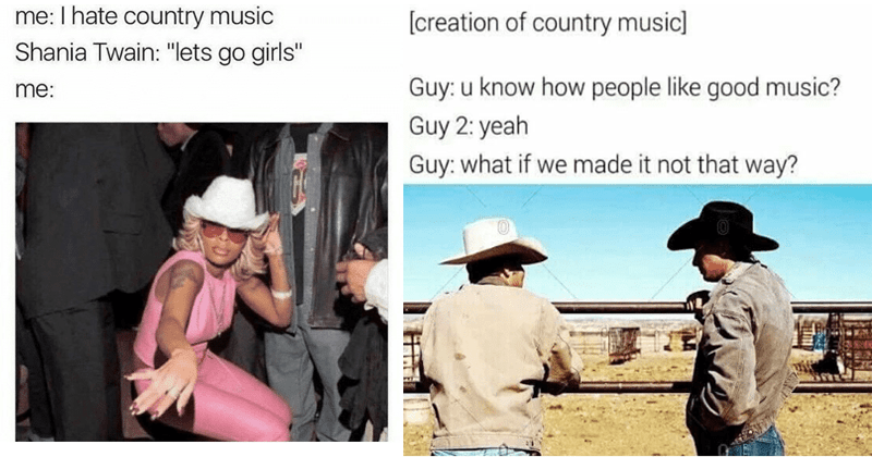 Funny memes about country music.