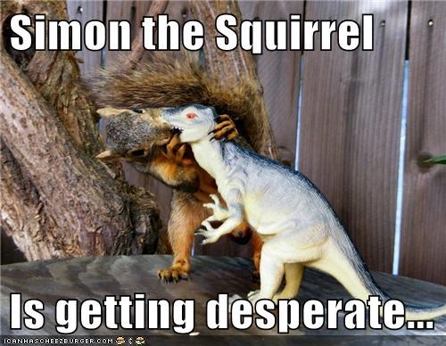 desperate,dinosaur,KISS,squirrel