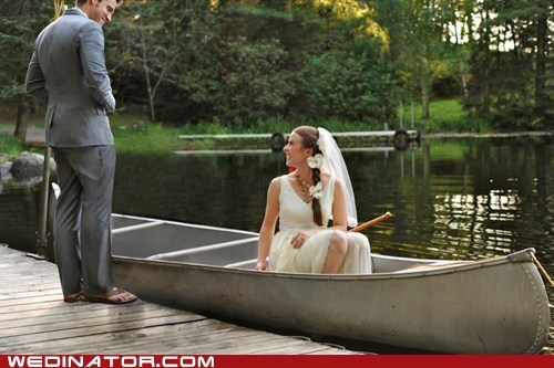 boats,bride,canoe,funny wedding photos,groom,water