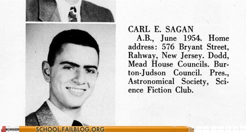 carl sagan,not as much hair,yearbook club