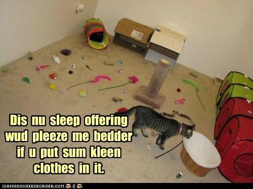 Dis nu sleep offering wud pleeze me bedder if u put sum kleen clothes in it.