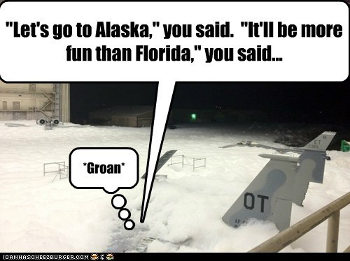 """Let's go to Alaska,"" you said. ""It'll be more fun than Florida,"" you said... *Groan*"