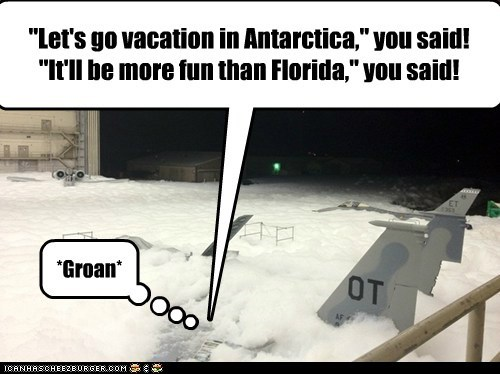 """Let's go vacation in Antarctica,"" you said! ""It'll be more fun than Florida,"" you said! *Groan*"