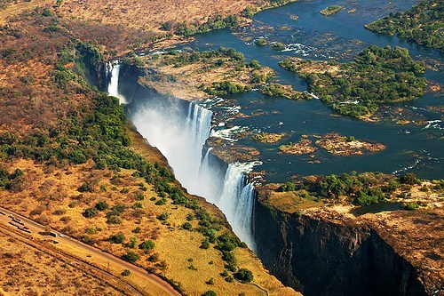 africa plains waterfall zambia - 6249902080