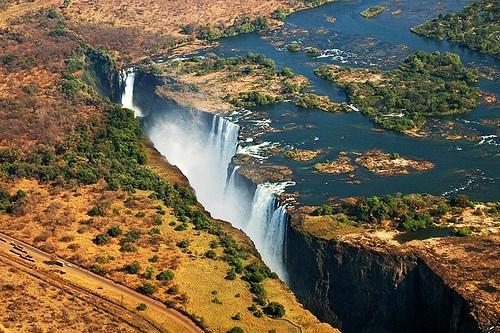 africa plains waterfall zambia - 6249902080