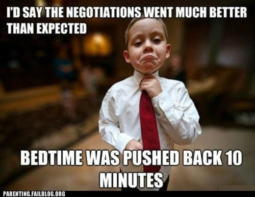bedtime negotiations tie young boy
