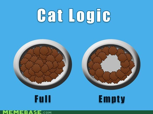 cat logic empty full Memes middle - 6250094848