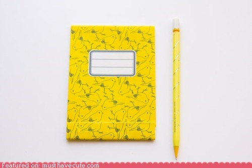 notebook notepad paper pencil stationery yellow - 6250100480