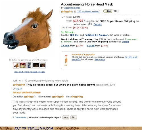 amazon,horse,mask,review,shoppers beware,wtf