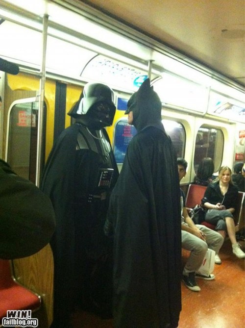 batman,darth vader,fight,g rated,Hall of Fame,nerdgasm,public transit,Subway,win