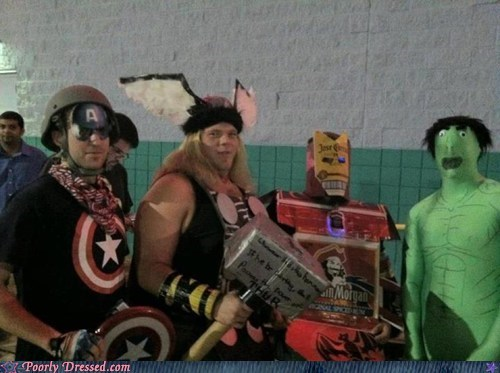 avengers,budget,captain america,cosplay,g rated,Hall of Fame,hulk,iron man,marvel,poorly dressed,Thor