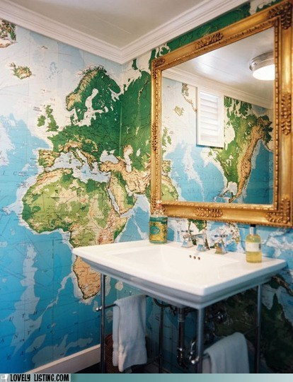 bathroom,map,mirror,Travel,wallpaper