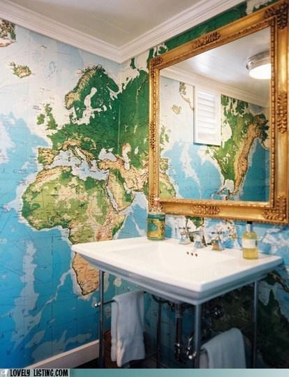 bathroom map mirror Travel wallpaper - 6250661120