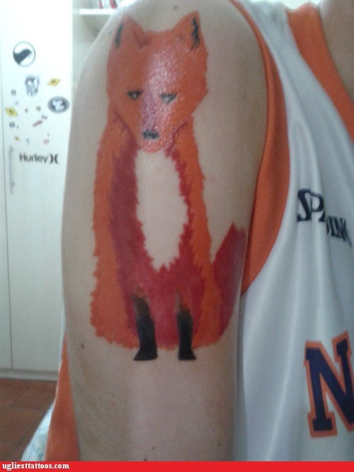 arm tattoo,firefox,red fox