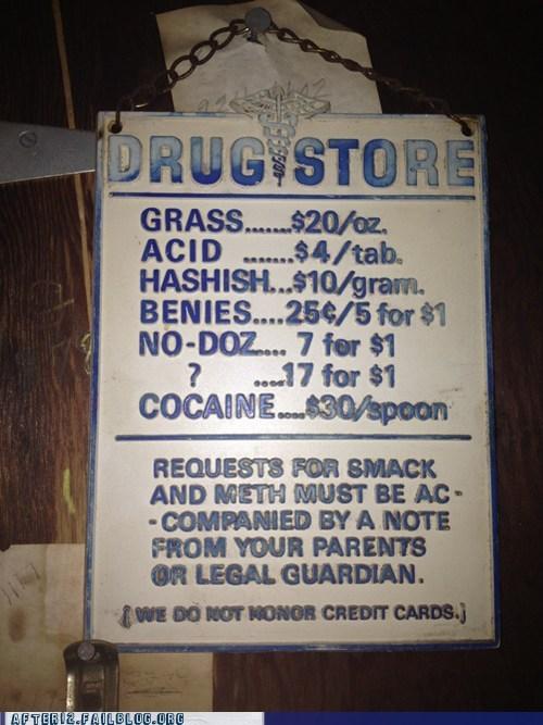 acid,benies,benzos,cocaine,drug store,grass,hash,hashish,heroin,meth,no-doz,smack