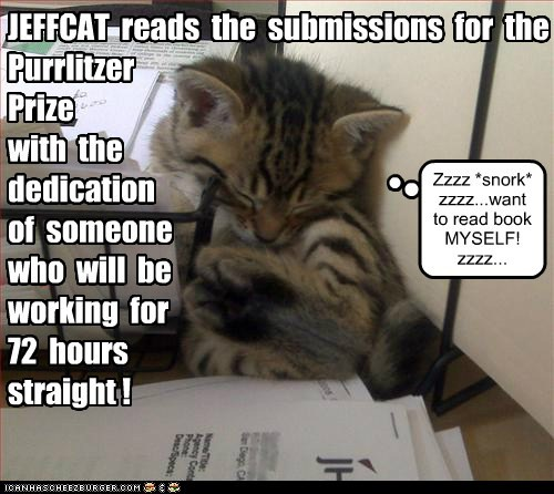 JEFFCAT reads the submissions for the Purrlitzer Prize with the dedication of someone who will be working for 72 hours straight ! Zzzz *snork* zzzz...want to read book MYSELF! zzzz...