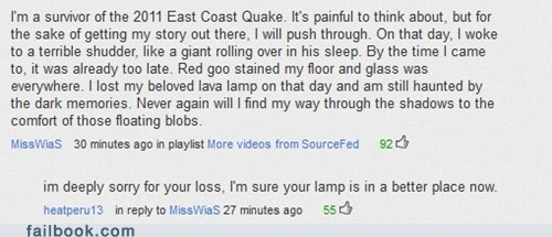 comment,earthquake,east coast,quake,youtube,youtube comments