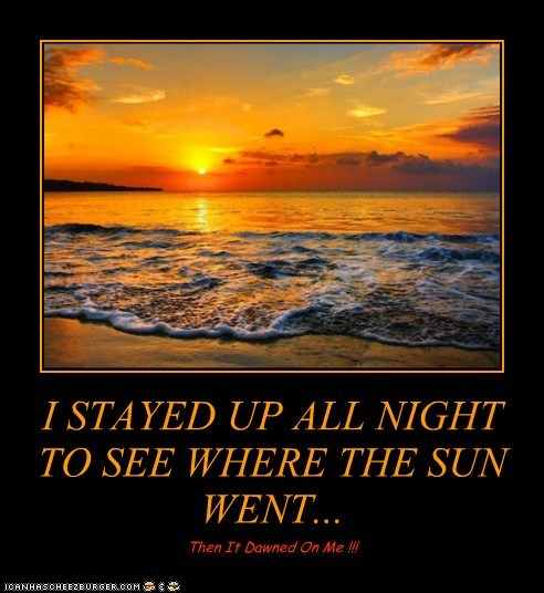 I STAYED UP ALL NIGHT TO SEE WHERE THE SUN WENT...
