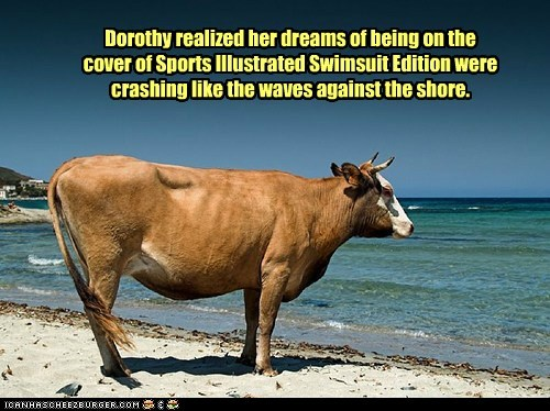 beach,cow,crashing,Dorothy,dreams,dreams are destroyed,model,Sad,shore,Swimsuit Issue,waves