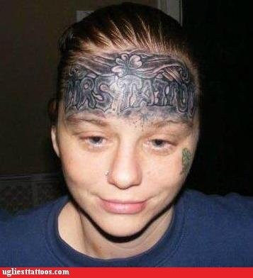 clover,face tattoo,forehead tattoo,mrs tattoo