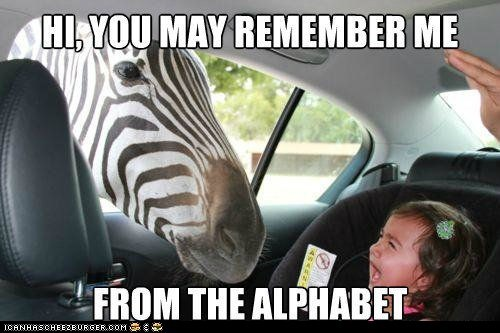 alphabet,Babies,cars,crying,kids,remember,z,zebra,zebras