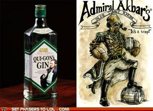 admiral akbar,alcohol,bar,captain morgan,gin,liquor,puns,qui-gon jinn,Rum,star wars
