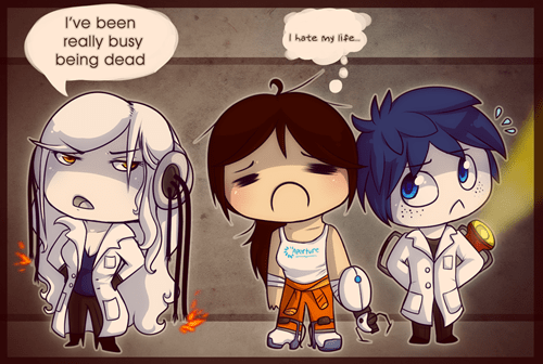 chell,Fan Art,gladOS,hey jackc0x i got you a p,hey jackc0x i got you a present,humanized,Portal,video games,Wheatley