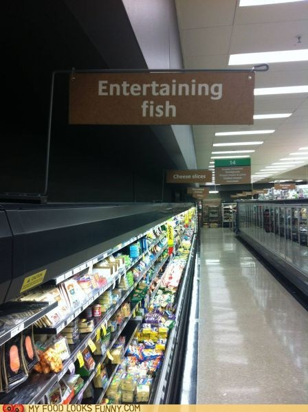 entertaining fish grocery store sign