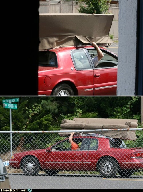 car,car rack,couch,moving,moving fail,rack,sofa