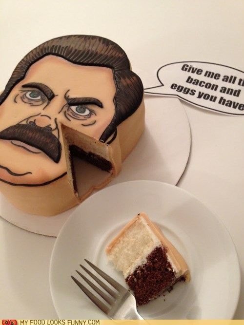 cake face fondant mustache ron swanson - 6254244352