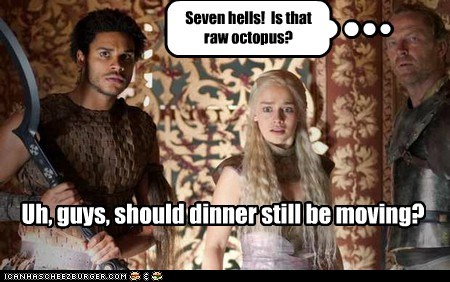 confusion,Daenerys Targaryen,dinner,eating,Emilia Clarke,Game of Thrones,khaleesi,octopus,restaurant,sushi