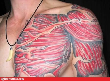 muscles pectoral ripped flesh tattoo shoulder