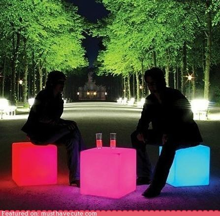 color furniture glow LED light stools table