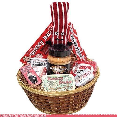 bacon,band aids,basket,candy,mints,selection